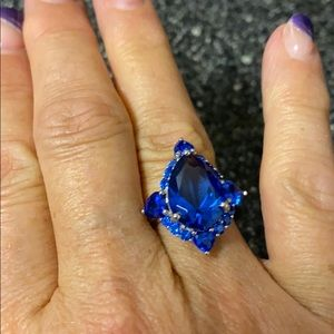 Mixed Shape Lab Created Blue Spinel Ring